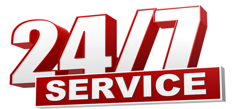 text 24/7 service 3d red white banner letters and block business concept